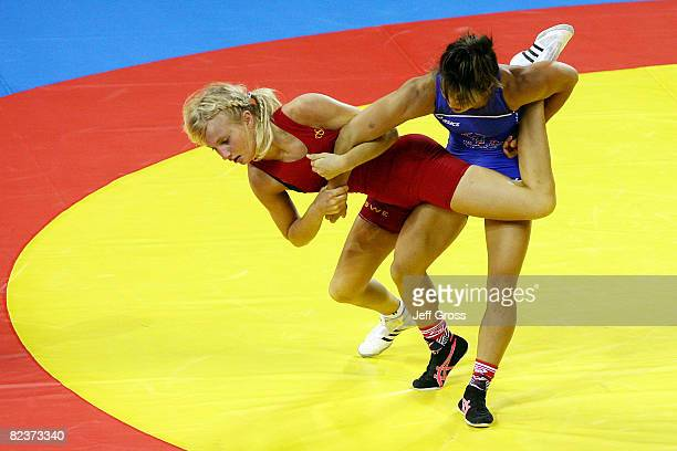 Clarissa Chun of the United States competes against Sofia Mattsson of Sweden during the women's freestyle 55kg wrestling match at the China...
