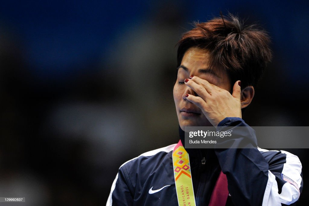 Clarissa Chun of USA, cries for losing the gold medal in the Women's Freestyle 48 kg during the Pan American Games Guadalajara 2011 at CODE Dome on October 22, 2011 in Guadalajara, Mexico.
