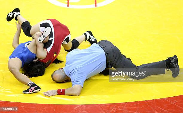 Clarissa Chun wrestles Patricia Miranda in the Championship match for 48 kg during the USA Olympic trials for Wrestling and Judo on June 13 2008 at...