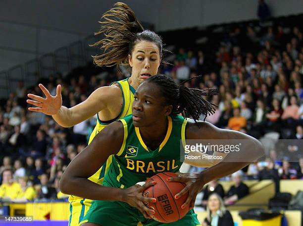 Clarissa Cristina Dos Santos of Brazil gathers the ball during the third match between the Australian Opals and Brazil at the State Basketball Centre...
