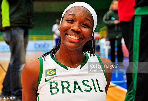 Clarissa Cristina dos Santos of Brazil poses for a photo after a international Basketball Friendly match between Cuba and Brazil at Costa Cavalcanti...