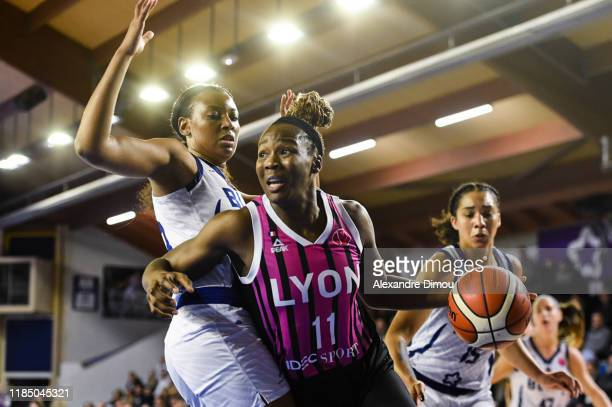Clarissa DOS SANTOS of Lyon and Diandra TCHATCHOUANG of Montpellier during the Euroleague Women Basketball match on Group B between Montpellier and...