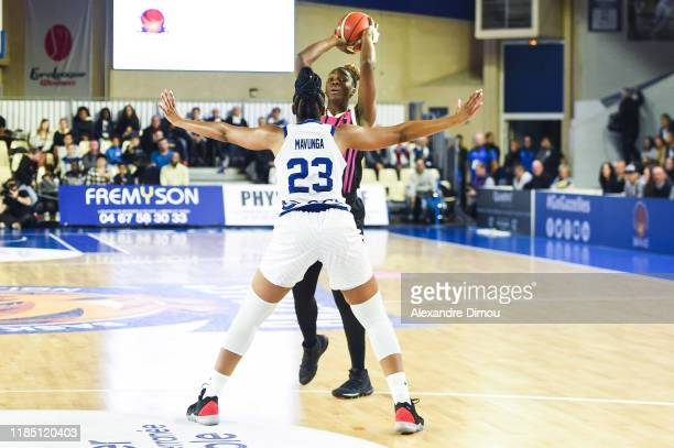 Clarissa DOS SANTOS of Lyon and Stephanie MAVUNGA of Montpellier during the Euroleague Women Basketball match on Group B between Montpellier and Lyon...