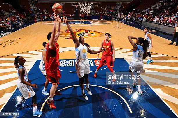 Clarissa Dos Santos of the Chicago Sky defends against Chinese Women's Olympic Team on May 28 2015 at Mohegan Sun Arenain Uncasville Connecticut NOTE...