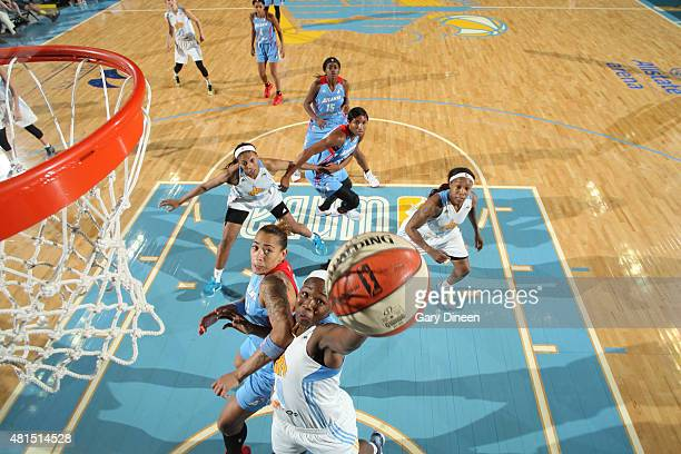 Clarissa Dos Santos of the Chicago Sky goes for the layup against the Atlanta Dream during the game on July 21 2015 at the Allstate Arena in Rosemont...