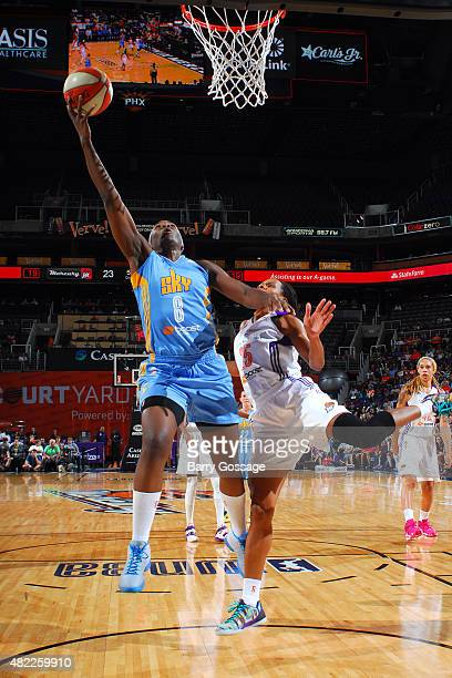 Clarissa Dos Santos of the Chicago Sky goes for the layup against the Phoenix Mercury on July 27 2015 at Talking Stick Resort Arena in Phoenix...
