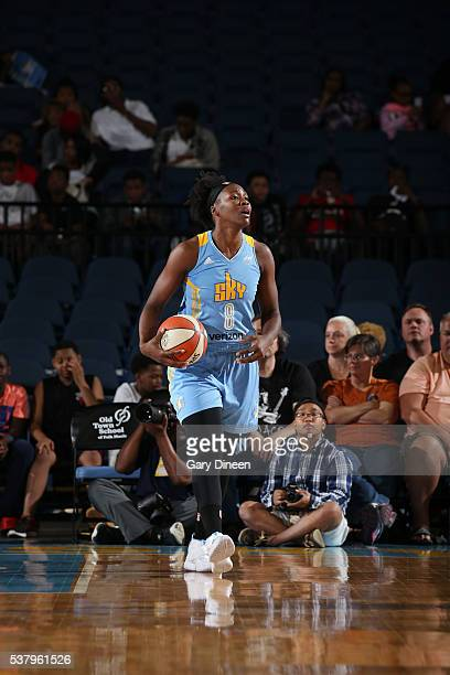 Clarissa Dos Santos of the Chicago Sky handles the ball against the Washington Mystics on June 3 2016 at Allstate Arena in Rosemont IL NOTE TO USER...