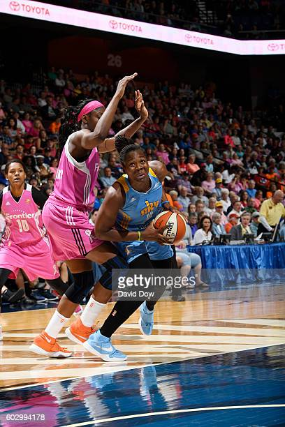 Clarissa dos Santos of the Chicago Sky handles the ball against the Connecticut Sun on September 11 2016 at the Mohegan Sun Arena in Uncasville...