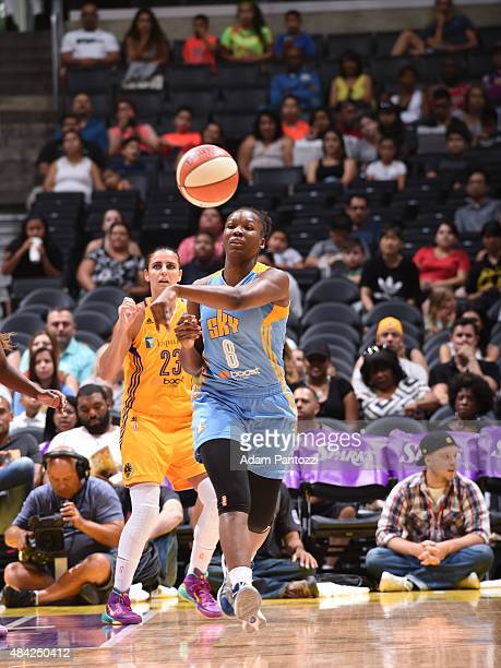 Clarissa Dos Santos of the Chicago Sky passes the ball against the Los Angeles Sparks on August 16 2015 at Staples Center in Los Angeles California...