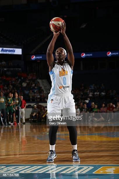 Clarissa Dos Santos of the Chicago Sky shoots a free throw against the Seattle Storm on September 6 2015 at Allstate Arena in Rosemont Illinois NOTE...