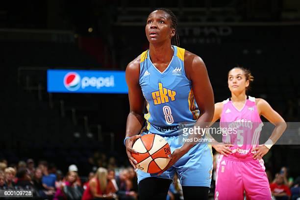 Clarissa dos Santos of the Chicago Sky shoots a free throw against the Washington Mystics on September 7 2016 at the Verizon Center in Washington DC...