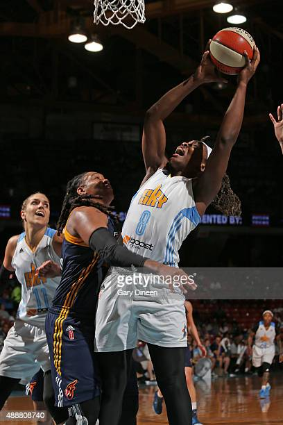 Clarissa Dos Santos of the Chicago Sky shoots the ball against the Indiana Fever during Game One of the Eastern Conference Semifinals on September 17...