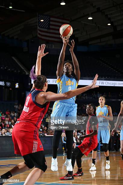 Clarissa Dos Santos of the Chicago Sky shoots the ball against the Chicago Sky on June 3 2016 at Allstate Arena in Rosemont IL NOTE TO USER User...