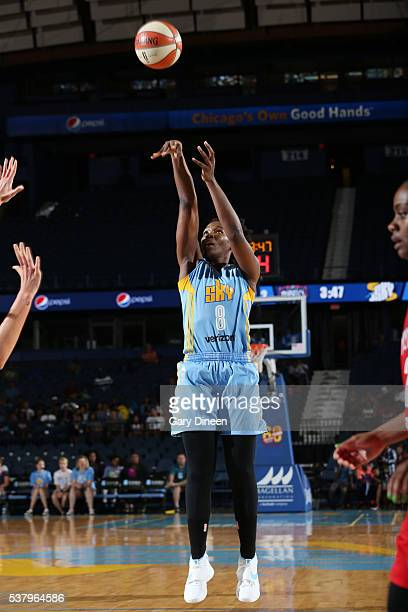 Clarissa Dos Santos of the Chicago Sky shoots the ball handles the ball against the Washington Mystics on June 3 2016 at Allstate Arena in Rosemont...