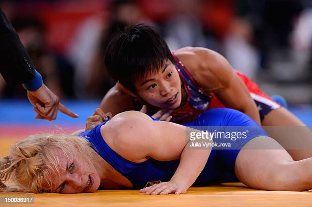 Clarissa Kyoko Mei Ling Chun of the United States competes with Irini Merleni of Ukraine in the Women's Freestyle 48kg Wrestling event on Day 12 of...