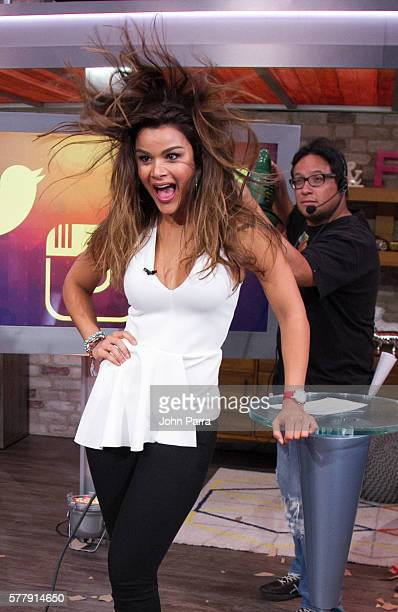 Clarissa Molina on the set of Univision's El Gordo y la Flaca at Univision Studios on July 19 2016 in Miami Florida