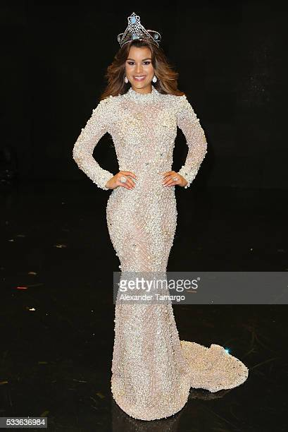 Clarissa Molina poses for photos after being crowned the winner of 'Nuestra Belleza Latina' at Univision Studios on May 22 2016 in Miami Florida