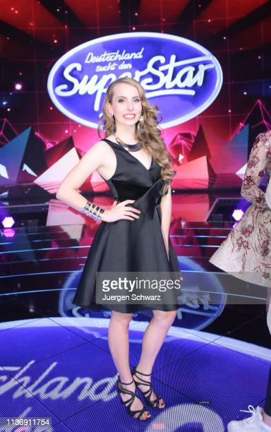 Clarissa Schoeppe poses during the second event show of the tv competition Deutschland sucht den Superstar at Coloneum on April 13 2019 in Cologne...