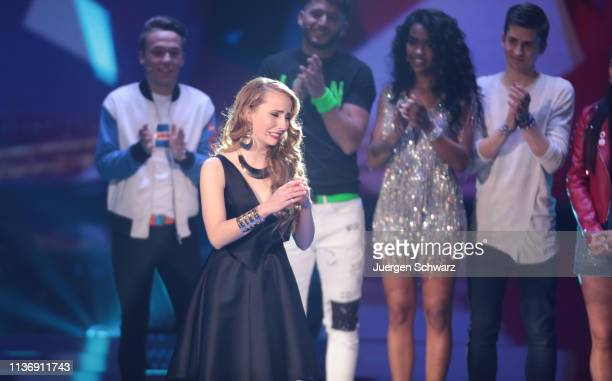 Clarissa Schoeppe reacts during the second event show of the tv competition Deutschland sucht den Superstar at Coloneum on April 13 2019 in Cologne...