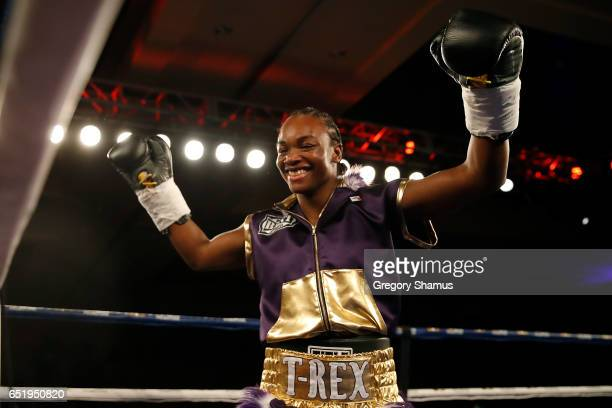 Clarissa Shields enters the ring to fight Szilvia Szabados of Hungary for the NABF Middleweight Championship by TKO at the MGM Grand Detroit on March...