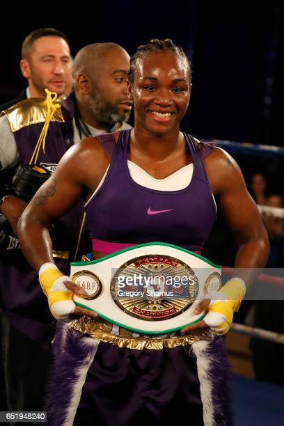 Clarissa Shields poses with her championship belt after defeating Szilvia Szabados of Hungary in the fourth round of the NABF Middleweight...