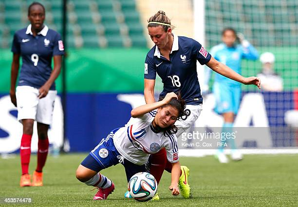 Clarisse Le Bihan of France challenges Jessica Martinez of Paraguay during the FIFA U20 Women's World Cup Canada 2014 Group D match between Paraguay...