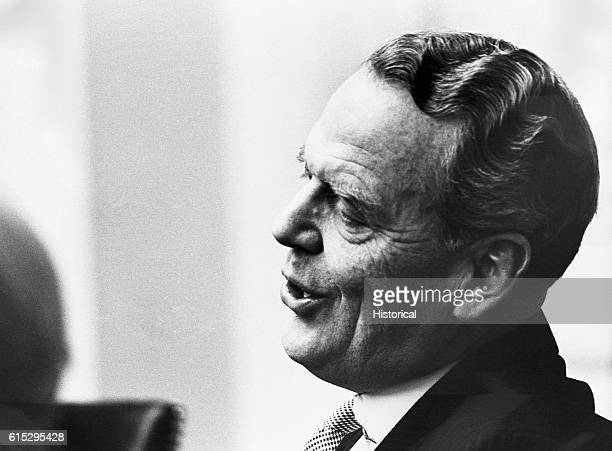 Clark Clifford a lawyer and member of President Lyndon B Johnson's 'kitchen cabinet' an unofficial but influential group of advisors