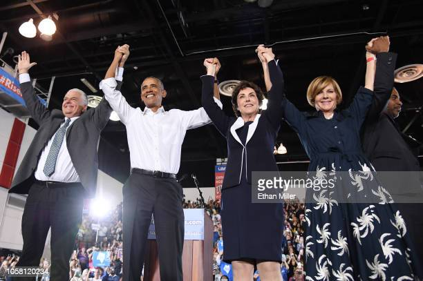 Clark County Commission Chairman and Democratic gubernatorial candidate Steve Sisolak former US President Barack Obama US Rep and US Senate candidate...