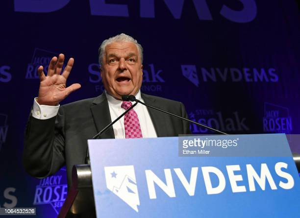 Clark County Commission Chairman and Democratic gubernatorial candidate Steve Sisolak speaks after winning his race against Nevada Attorney General...