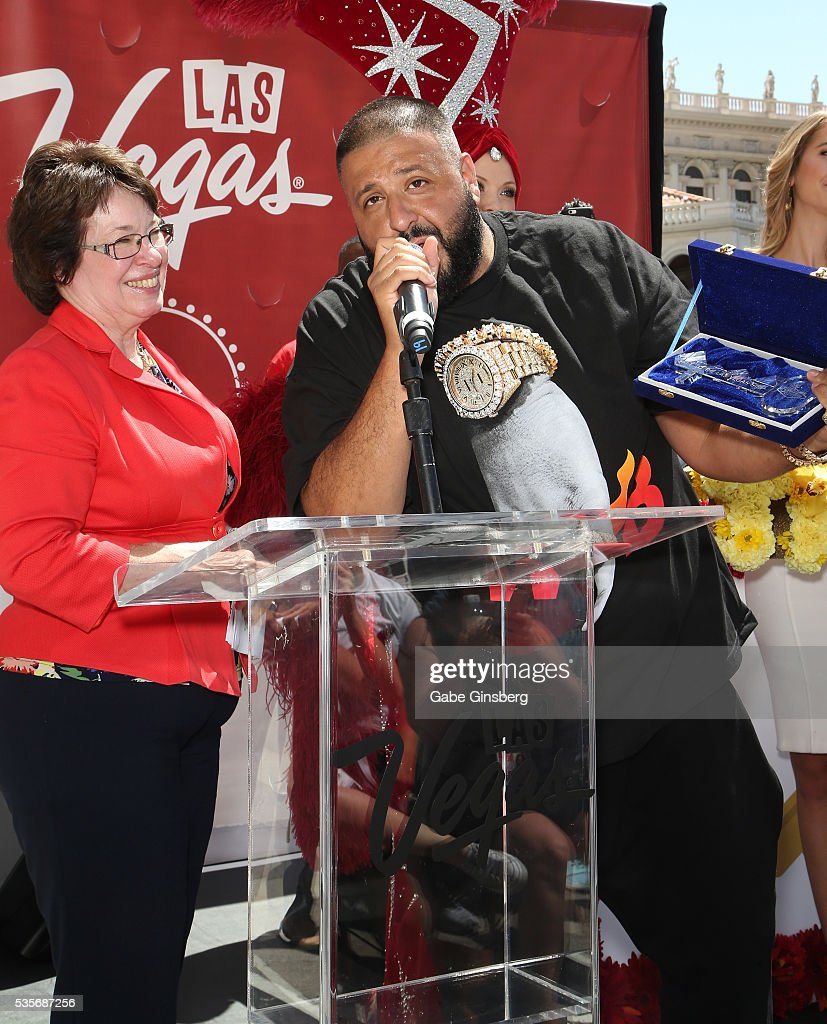 Clark County Commissioner Mary Beth Scow (L) pesents DJ Khaled a ceremonial key to the city of Las Vegas during a launch event for the Las Vegas official Snapchat channel at The Venetian Las Vegas on May 29, 2016 in Las Vegas, Nevada.