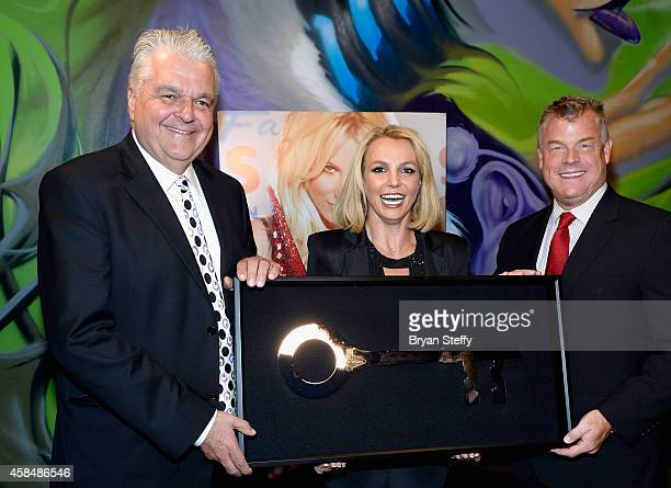 Clark County Commissioner Steve Sisolak singer Britney Spears and Regional President of Planet Hollywood Resort Casino Bally's Las Vegas and Paris...