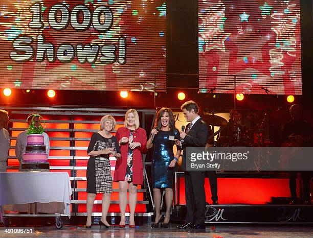 Clark County Commissioner Susan Brager and Flamingo Las Vegas Regional President Eileen Moore present entertainers Marie Osmond and Donny Osmond a...