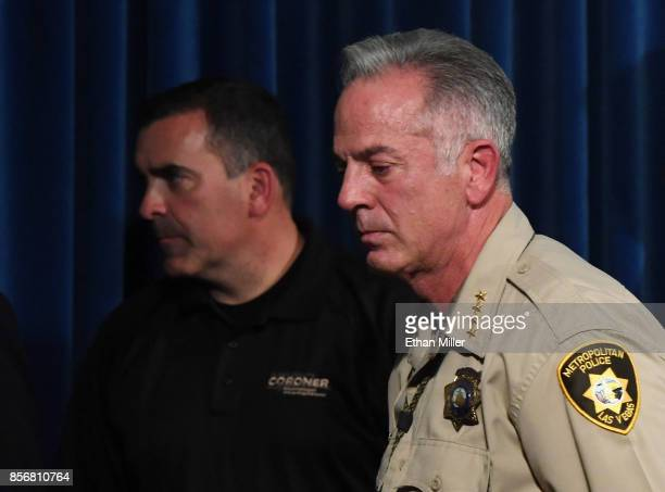 Clark County Coroner John Fudenberg and Clark County Sheriff Joe Lombardo leave a news conference at the Las Vegas Metropolitan Police Department...