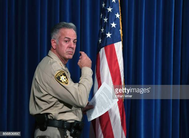 Clark County Sheriff Joe Lombardo arrives at a news conference at the Las Vegas Metropolitan Police Department headquarters to brief members of the...