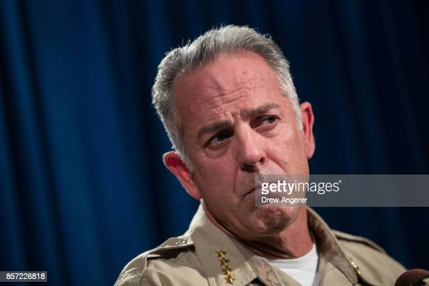 Clark County Sheriff Joe Lombardo briefs reporters on the ongoing investigation into Sunday night's mass shooting at Las Vegas Metropolitan Police...