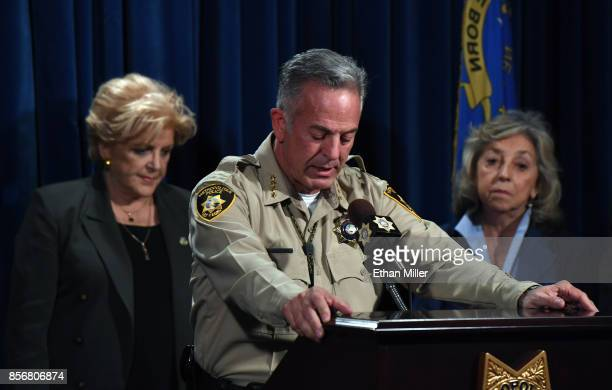 Clark County Sheriff Joe Lombardo flanked by Las Vegas Mayor Carolyn Goodman and US Rep Dina Titus speaks during a news conference at the Las Vegas...
