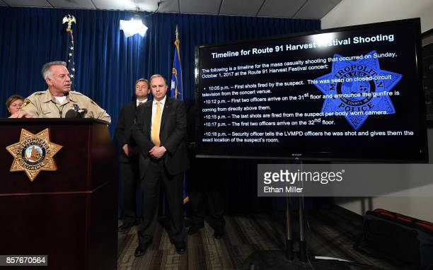 Clark County Sheriff Joe Lombardo shows a timeline of events from Sunday's mass shooting as US Sen Dean Heller and FBI Las Vegas Division Special...