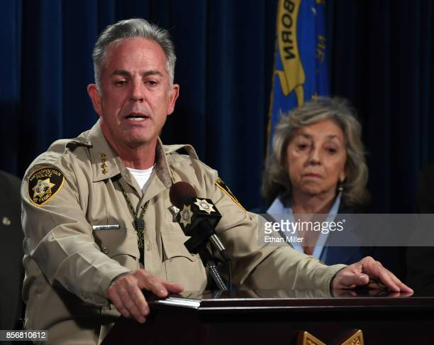 Clark County Sheriff Joe Lombardo speaks as US Rep Dina Titus looks on during a news conference at the Las Vegas Metropolitan Police Department...