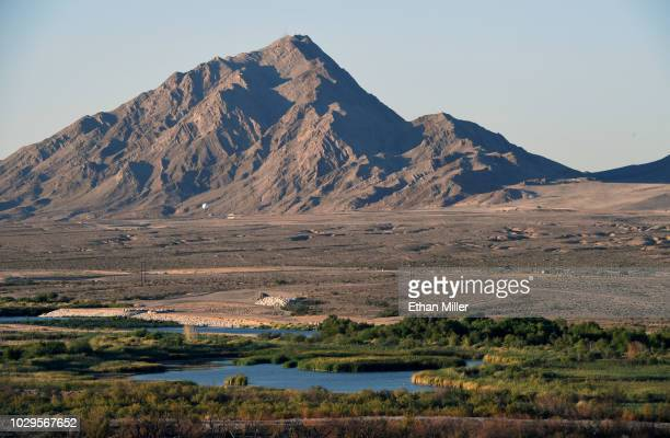 Clark County Wetlands Park is shown in front of Frenchman Mountain on September 8 2018 in Las Vegas Nevada