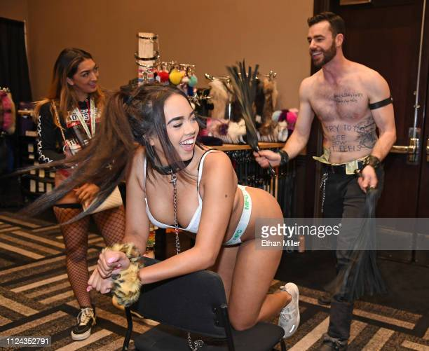 Clark from The Spank Academy flogs webcam model Kendallnicole at the 2019 AVN Adult Entertainment Expo at the Hard Rock Hotel Casino on January 23...