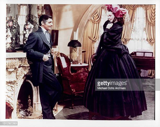 Clark Gable admiring dressed up Vivien Leigh in a scene from the film 'Gone With The Wind' 1939