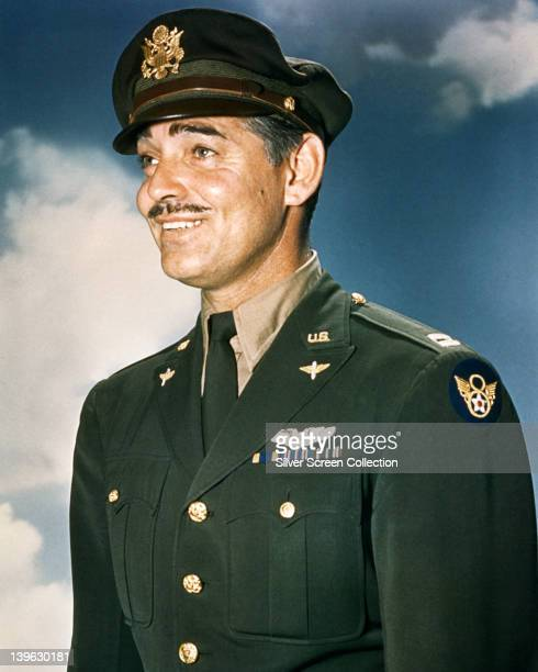 Clark Gable US actor dressed in US Air Force uniform with a background of blue sky and clouds circa 1945 Gable flew on combat missions as a gunner...