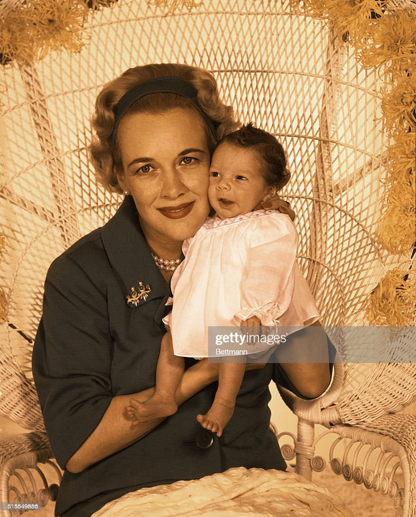 Portrait of Katherine Gable with Newborn Son : News Photo
