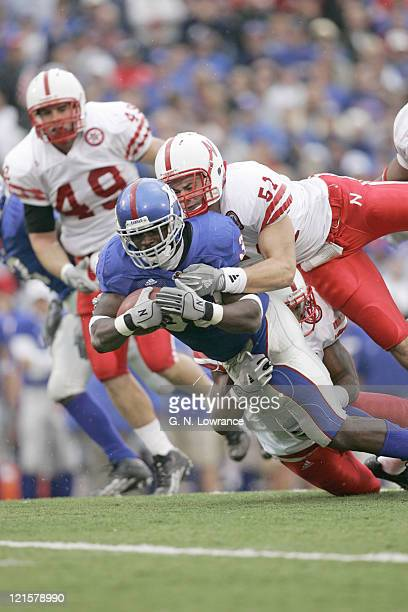 Clark Green of the Kansas Jayhawks rushes for some of his 106 yards during a game against the Nebraska Cornhuskers at Memorial Stadium in Lawrence...