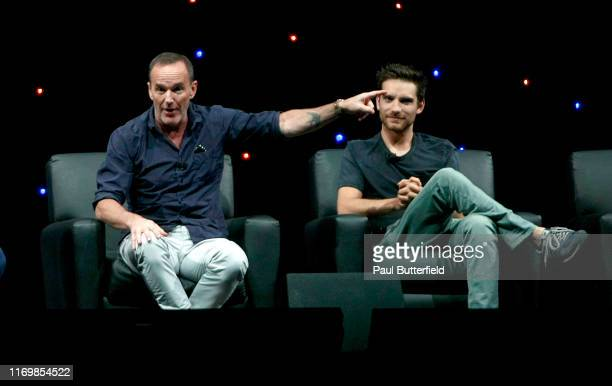 """Clark Gregg and Jeff Ward speak at Marvel's """"Agents of S.H.I.E.L.D."""" panel during the 2019 D23 Expo at Anaheim Convention Center on August 23, 2019..."""