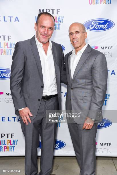 Clark Gregg and Jeffrey Katzenberg attend MPTF's Annual NextGen Summer Party at Paramount Pictures on August 16 2018 in Los Angeles California