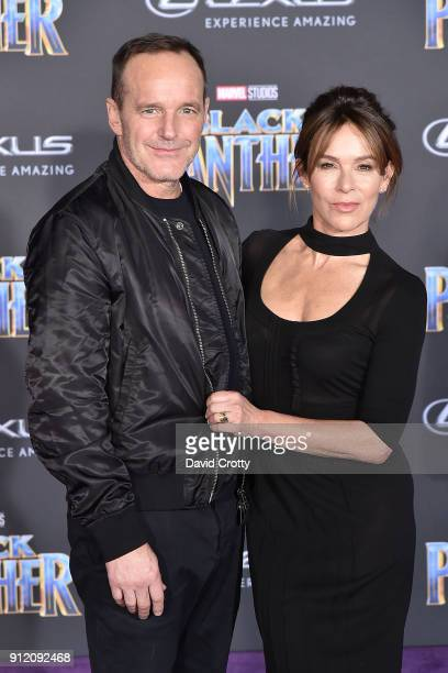 Clark Gregg and Jennifer Grey attend the Premiere Of Disney And Marvel's Black Panther Arrivals on January 29 2018 in Hollywood California