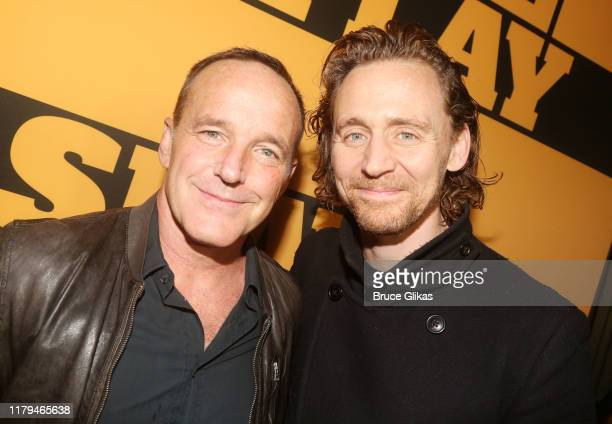 """Clark Gregg and Tom Hiddleston pose at the opening night of the new play """"Slave Play"""" on Broadway at The John Golden Theatre on October 6, 2019 in..."""