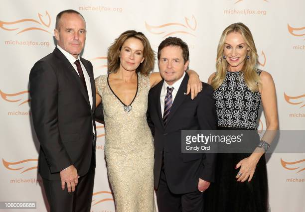 Clark Gregg, Jennifer Grey, Michael J. Fox, and Tracy Pollan on the red carpet of A Funny Thing Happened On The Way To Cure Parkinson's benefitting...