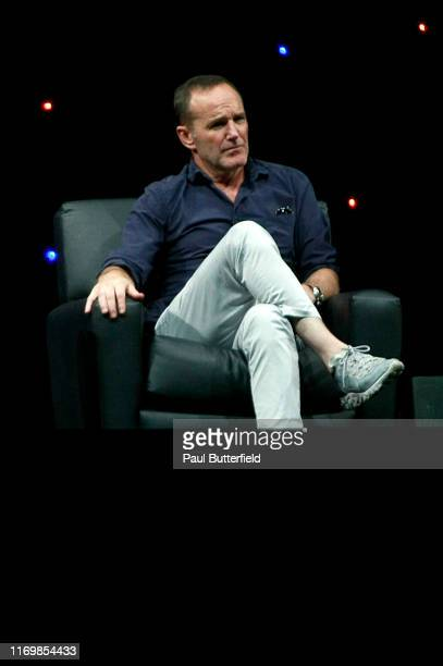 """Clark Gregg speak at Marvel's """"Agents of S.H.I.E.L.D."""" panel durings the 2019 D23 Expo at Anaheim Convention Center on August 23, 2019 in Anaheim,..."""